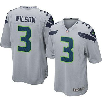 Youth Seattle Seahawks Russell Wilson Nike Gray Alternate Game Jersey