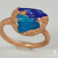 "Two ""Stone"" /Genuine Sea Glass Ring / Size 5.5  / Cobalt Aqua Blue /Glass Beach California / Electroformed / Copper / Unique / Hand Crafted"