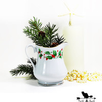 Small White Creamer, Decked with Holly, Christmas Decor, Holiday Decor, Holiday China
