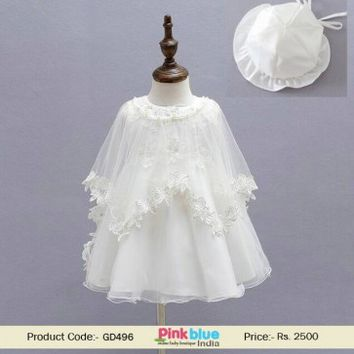 Newborn Baby Girl Cape Baptism Dress with Bonnet | Christening Gown 2017