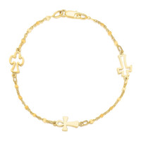 14K Yellow Gold Symbolic Cross Bracelet