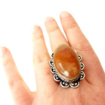 Statement Ring. Sunstone. Handmade Bohemian Vintage Jewelry. Size 8.5