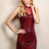 Ruby Red Victorian Mock Neck Sequin Lace Dress
