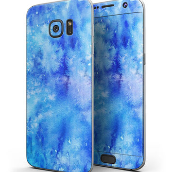 Washed Ocean Blue 402 Absorbed Watercolor Texture - Full Body Skin-Kit for the Samsung Galaxy S7 or S7 Edge