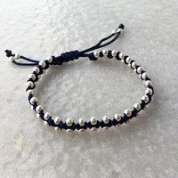 Wrap Beaded Bracelet with Silver Plated Beads, Elegant Macrame Beaded Bracelet