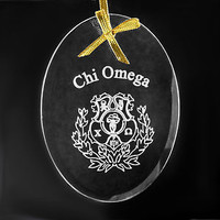Chi Omega Sorority, ΧΩ, Crystal Beveled Oval Name & Crest  Ornament/Sun Catcher