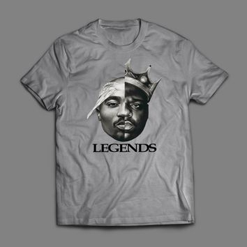 "OLD SKOOL RAPPERS TUPAC AND BIGGIE SMALLS ""LEGENDS"" ART T-SHIRT"