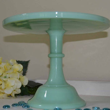 "Green Jadeite Glass 10"" Pedestal Cake Plate Stand Wedding"
