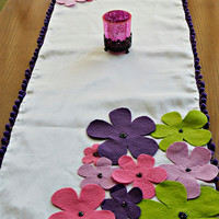 Spring Flowers Table Runner with Felt Flowers