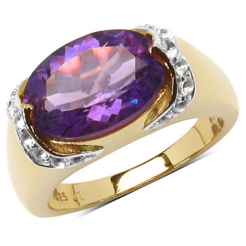 14K Yellow Gold Plated 4.98 Carat Genuine Amethyst & White Topaz .925 Sterling Silver Ring