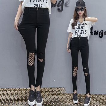 Black Fake Jeans Hole Leggings High Waist Slim Ankle-length Casual Pants Stretch Legging For Women Ropa Deportiva Mujer DC05