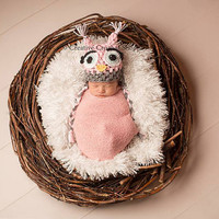 Newborn Owl Hat (Photography Prop, Baby Shower Gift, Baby Girl Hat, READY TO SHIP)