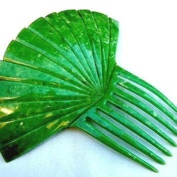 Fan Shape Hair Comb, Green Celluloid, Art Deco, Spanish Comb Hair Accessory Hair Jewelry Hair Ornament Hair Pin Hair Pick