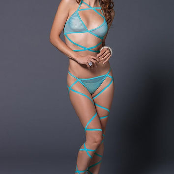 Neon Blue Wrap Around Fishnet Halter Top and Panty in OS