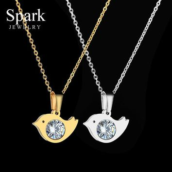 Cute Stainless Steel Bird Animal Necklace & Pendant For Women Lovely Fashion Chain Necklace Statement Jewelry Gift For Kids
