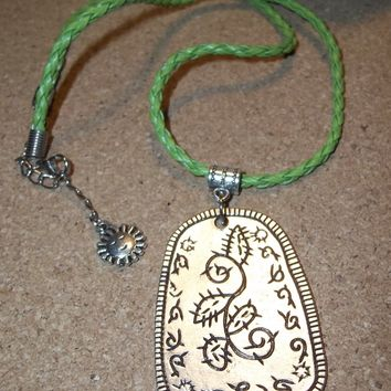 "Cactus Southwestern Style Hand Crafted Silver Tone Medallion 18"" Braided Green Leather Cord w/ Sun Charm"