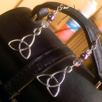 Lilac Pearl Triquetra Earrings