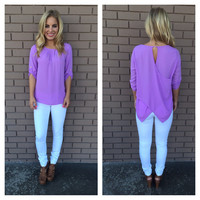 Lilac Cross Back 3/4 Sleeve Blouse