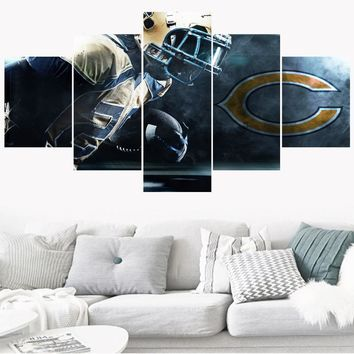 Newest 5 Pcs Sport Team Paintings Chicago Bears Modern Home Decor Living Room Bedroom Wall Art Canvas Print Painting Calligraphy