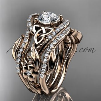 "14kt rose gold diamond celtic trinity knot wedding ring, engagement ring with a ""Forever Brilliant"" Moissanite center stone and double matching band CT7211S"