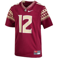 Youth Nike #12 Garnet Florida State Seminoles Replica Football Jersey