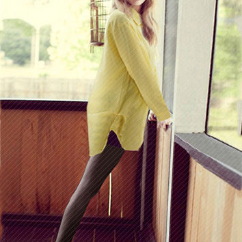 Long Sleeve Shirt Collar Slit Blouse