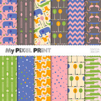 Animals - Pink Green Yellow Blue - Elephants Squirrels Aligators Flamingoes Trees Chevron Dots Pattern - Digital Scrapbooking Paper Pack