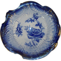Antique La Francaise Flow Blue Roses Serving Bowl Dish