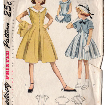 Vintage 1950s Knee Length Girls Dress Pattern, Bolero Jacket with Kimono Sleeves, One Piece Dress, Simplicity Sewing Pattern 3182, Bust 25