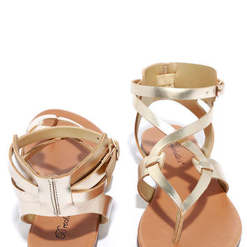 Boho Babe Champagne Gold Thong Sandals