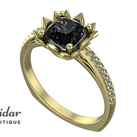 Flower Engagement Ring,Unique Engagement Ring,diamond Engagement Ring,cushion,Black Diamond Engagement Ring,lotus,floral,Yellow gold Ring
