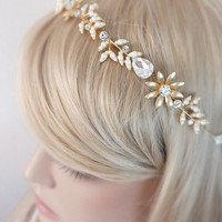 Floral hair vine, wedding headband, bridal headpiece, AA Cubic Zircon, Wedding halo, Pearl rhinestone headband, Ribbon, Gold headpiece ,