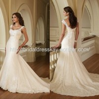 Cap sleeve mermaid classic lace applique wedding dress bridal gown