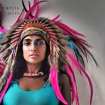 ON SALE >> Paradise Carnival Collection -Pink Turquoise Feather Headdress Gypsy Silk