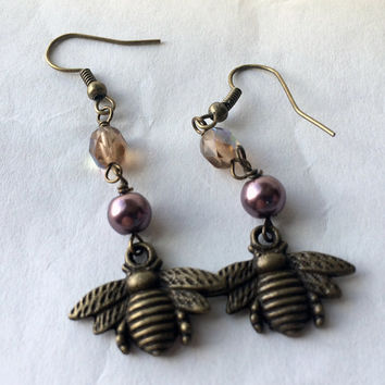 Pearls and Bees earrings Pierced earrings Plum purple pearls with iridescent crystals antiqued brass