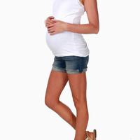 Blue Distressed Jean Maternity Shorts