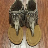 Flirting with Fringe Sandals - Nude