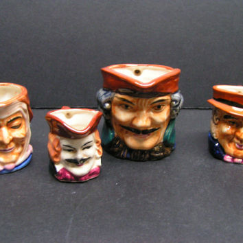 Vintage Set of Toby Collectibles 3- Creamers & 1-Cup - 1940's Occupied Japan Era Hand Painted Home Decor, Funky, Kitschy, Unique Gift Idea