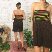 Vintage 1970's Striped LUREX Tube Dress || Strapless Knit Dress || Size XS to S