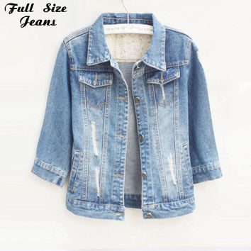 Women Plus Size Cropped Jean Jacket Light Blue Bomber Short Denim Jakcets Jaqueta Casual Ripped Jeans Coat 3/4 Sleeve 4XL 5XL