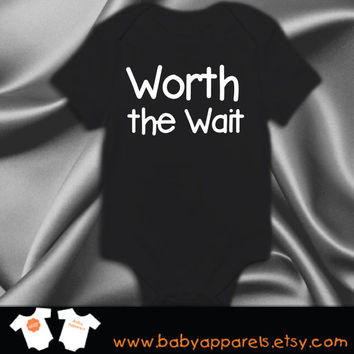Worth the Wait Baby Bodysuit, Cute Baby Clothes, Personalize Baby Gift, Newborn gift, cute baby, bodysuit, by BabyApparels.etsy.com