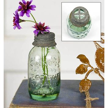 Small Mason Jar with Flower Frog - Set of 6