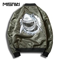 Spring Shark Print Bomber Jacket Men Street wear Casual Slim Windbreaker Men Baseball Jacket Coat