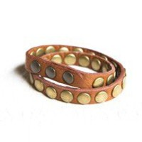 Brown studded wrap bracelet