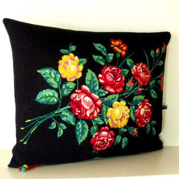French Large Needlepoint Tapestry Rose bouquet on Black Linen Pillow Cushion Coussin