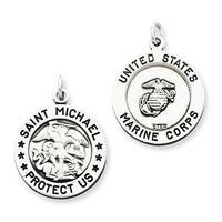 Sterling Silver Antiqued Saint Michael Marine Corp Medal