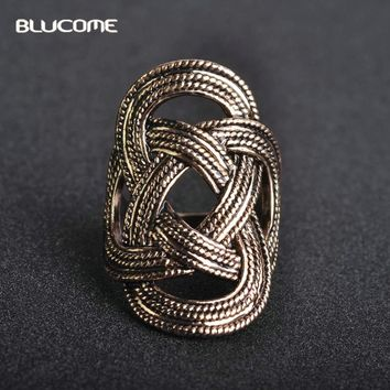 Blucome Vintage Weave Shaped Long Rings Antique Hollow Alloy Party Engagement Wide Rings For Women Best Gifts Ladies Jewelry