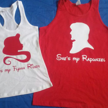 Free Shipping for US Rapunzel and Flynn Couples Tank Tops/t T-Shirts