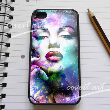 Marilyn monroe face in galaxy nebula for iPhone 4 / 4S / 5 Case Samsung Galaxy S3 / S4 Case