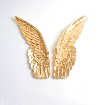 XL Angel Wings Wall Decor In Gold, Guardian Angel Set Of Bird Wings   Baby